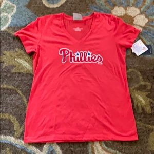 PHILLIES Lg large red top NWT FANATICS v-neck H